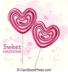 Red heart lollipop candy watercolor Vector. Sweet candy Valentine day card