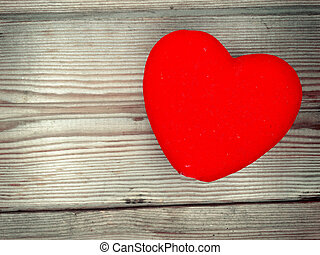 red heart love valentine's day on wooden background