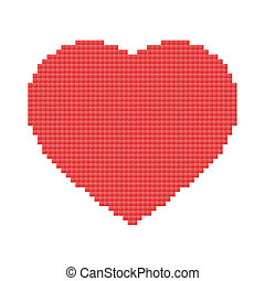 red heart made of pixels