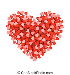 Red heart made of small