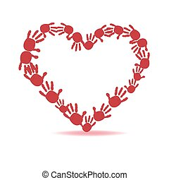 Red heart made of the handprints