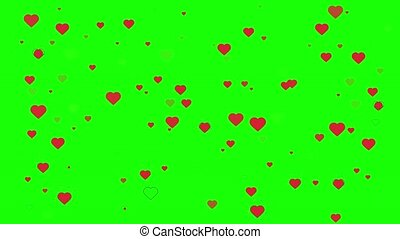 Red heart marks appear on a green background