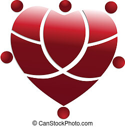 Red heart medical people team logo