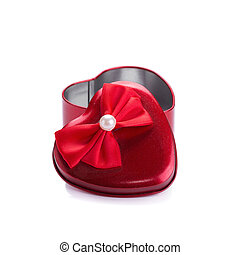 Red heart metal box on white background