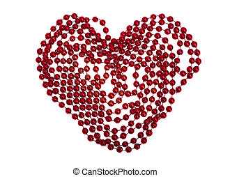 Red heart of beads isolated on white