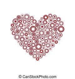 Red heart of the rings, Happy Valentines day card with abstract heart, Be my Valentine background, vector illustration