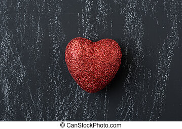 Red Heart on a Chalkboard for Valentines Day
