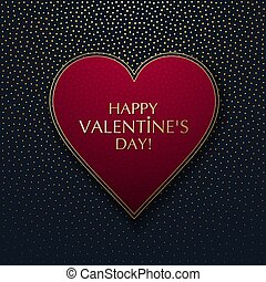 Red heart on a dark background with gold dots