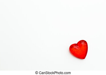 red heart on a white background. Festive background for the festival of birthday, Valentine's day, Christmas, new year.
