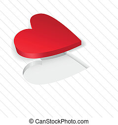 red heart on a white