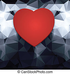 red heart on an abstract background.