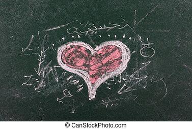 Red heart on chalkboard, blackboard texture