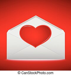 Red Heart on envelope with red background