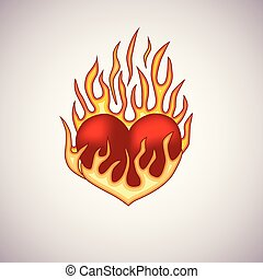 Red heart on fire tattoo.