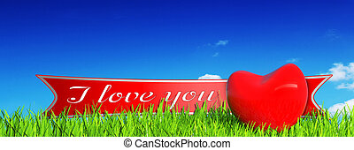 red heart on grass