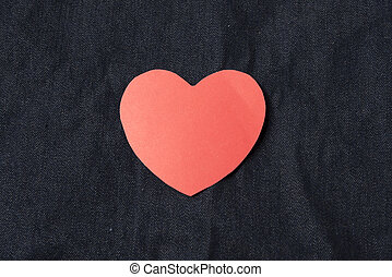 red heart on jean