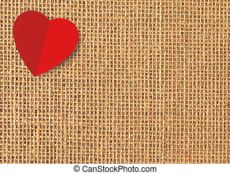 Red heart on linen texture background