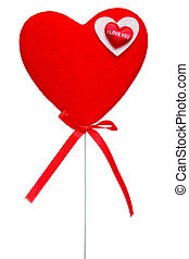 Red heart on stick