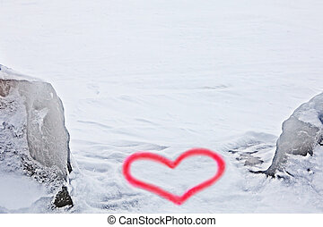 heart on the background of winter