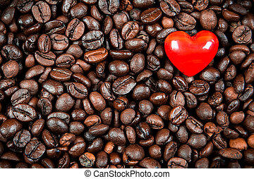 Red heart on the coffee beans