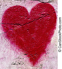 Red heart on the wall