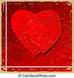 Red heart on vintage background