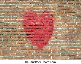 red heart on wall with copy space