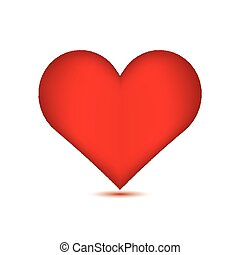 Red heart on white background.