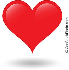 Red heart on white background with shadow