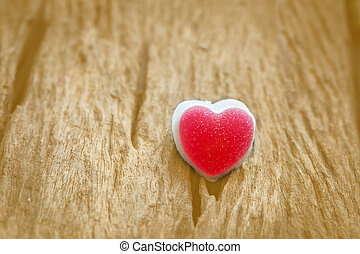 Red heart on wood background/ Valentines day