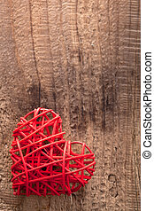 red heart over wooden background for Valentines