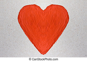 red heart painted with watercolor