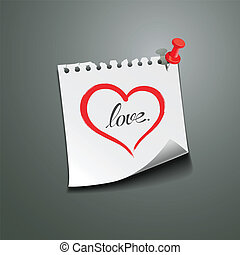 Red heart paper note love message, vector illustration