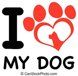 Red Heart Paw Print With Claws And Dog Head Silhouette Logo Design