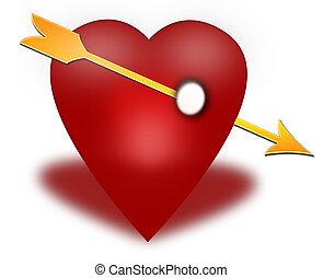 Red heart pierced by an arrow