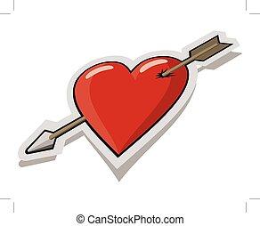 red heart pierced by arrow