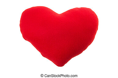 red heart pillow isolated on white background