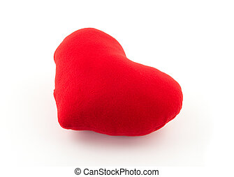 red heart pillow on white background