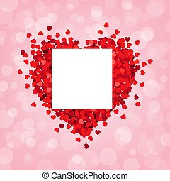 Red Heart Pink Background With Banner