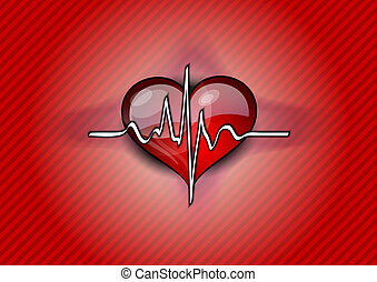 red heart pulse - red heart with pulse rhythm