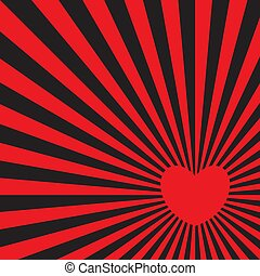 Red heart radiating red rays. Pop art style.