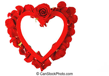 red heart, red rose on a white background