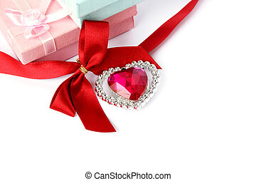 Red heart, ribbon and gift boxes - Red heart, ribbon, gift...