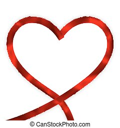 Red heart ribbon bow. EPS 10