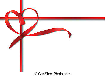 Red heart ribbon bow. Vector