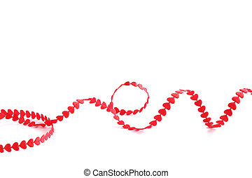 Red heart ribbon - Red ribbon made of hearts isolated on...