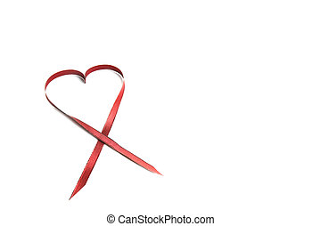 Red Heart Ribbon With Copy Space