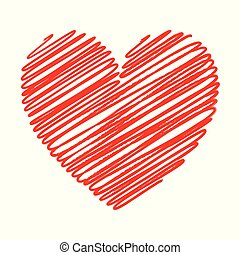 Red heart scribble with lines texture on white background. Element for your Valentine?s Day Design