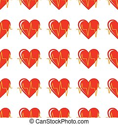 Red heart seamless pattern in cartoon style isolated on white background vector illustration
