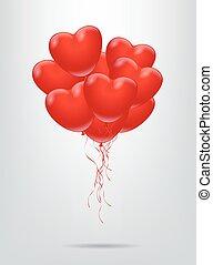 Red heart shape balloon bunch. Vector illustration.